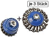 6 tlg Set Topfbürste 75mm + Kegelbürste 100mm M14 gezopft für Winkelschleifer Flex