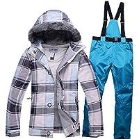 Jiuyizhe Chaqueta de esquí Transpirable Impermeable al Aire Libre de Las Mujeres Invierno cálido Pantalones Conjunto de esquí (Color : 02, Size : S)