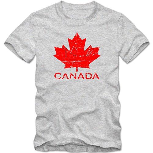 Kanada Ice Hockey Premiumherrenshirt |Herren | Ahornblatt | Eishockey WM 2015 Canada | Can |Vintage | 100% Baumwolle | XS-5XL, Farbe:Graumeliert (Grey Melange L190);Größe:L (Vintage-hockey-t-shirts)