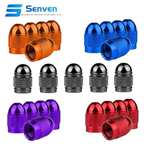 Senven 25 Pcs hochwertige Farb-Ventilkappen, Aluminium-Ventilkappen, Reifenventil-Staubkappen Auto, Motorrad, LKW, Fahrrad verhindern Luftleckage - Universal-Reifenventilkappen
