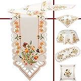 Quinnyshop Tulipes et Papillons oranges Broderie Chemin de table 40 x 90 cm Ovale Polyester, Blanc