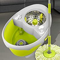 AOLI Spin Mop Microfiber Bucket Floor Cleaning System, Double Drive Mop Bucket Green, Automatic Drying and Cleaning,6 mop Head,