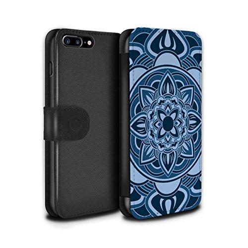 STUFF4 PU-Leder Hülle/Case/Tasche/Cover für Apple iPhone 7 Plus / Pack 15pcs Muster / Mandala Kunst Kollektion Blütenblatt/Blau