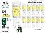 Juego de 10Bombillas LED Bispina G9–6W–510LM–220/240V–Tamaños diámetro 18x 55mm–Luz Natural 4000K ° Alcance de iluminación 360°–No regulables