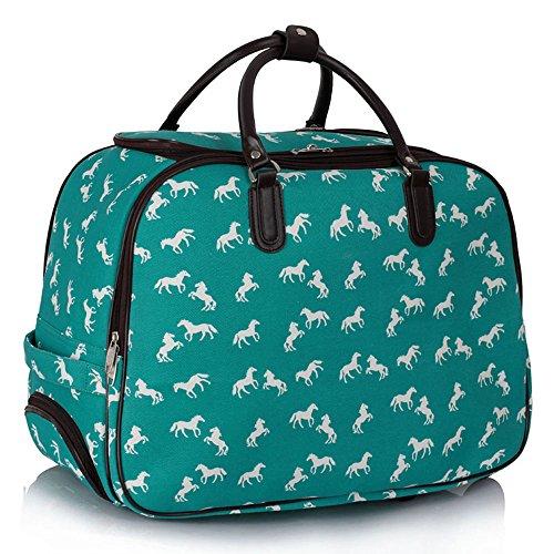 Meine Damen Reisetaschen Holdall Frauen Handgepäcks Pferd Print Wochenende Rolliges Laufwerk Handtasche Smaragd