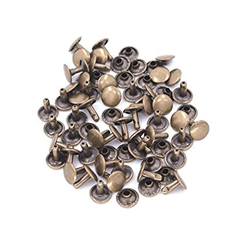 Set of 100 Pieces 6mm Tubular Double Cap Rivets Craftsman Repair Setting Studs by Trimming Shop