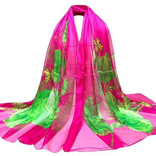 OverDose Damen Schal, Fashion Lady Schmetterlings Blumen Lange Wrap Frauen Schal Chiffon Schal Seide Schals Halstuch Tücher (Schulter-bluse Aus Seide)