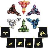 ECIDICE Dadi da Gioco, Poliedrici Doppio-Colore per Rpg Dungeons e Dragons Pathfinder, 6 Set di DND MTG Rpg con 6 Pezzi Sacchetti Neri 6 x 7(42 Pezzi)