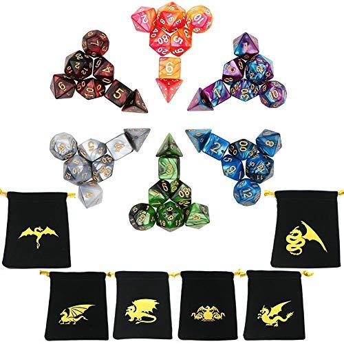ECIDICE Polyedrische Würfel, Doppelfarben Tisch Spiel Würfel für Dungeons and Dragons MTG RPG DND D4 D6 D8 D10 D12 D20 (42 Stück)