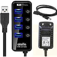 Atolla Hub USB 3.0 alimentato 4 porte e 1 porta di ricarica veloce Multi USB Hub e 15W(5V/3A) di alimentazione elettrica adattatore e 1M cavo USB 3.0 di prolunga (nero) - 1m Estensione Piombo