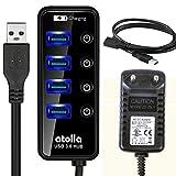 Atolla Hub USB 3.0 alimentado de 4 puertos Concentrador y 1 puerto de carga rápida adicional con interruptor de LED con Alimentación adaptador 15W(5V/3A) y cable de extensión 1M