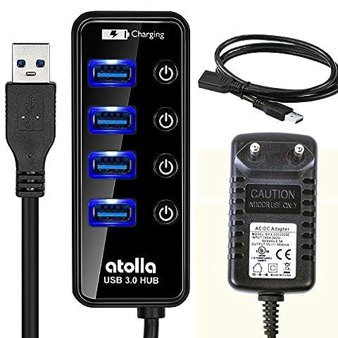 Atolla 4 Port USB 3.0 Hub netzteil Extender mit 1M Verlängerungskabel und 15W(5V/3A) Power Supply Ladegerät Adapter