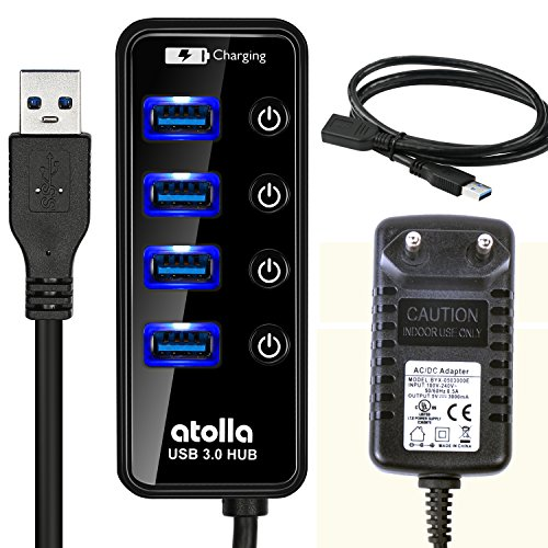 Atolla Hub USB 3.0 alimenté Multiple 4 Ports SuperSpeed transfert de données 5Gb/s et 1 Port de Charge Rapide avec 15W(5V/3A) adaptateur d'alimentation externe et le Câble d'extension 1M(Noir)