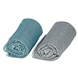 TEQIN Fashion Cooling Towel 2 Pack Cooling Cloth Premium Healthy Travel Sports Quick-Dry Towel Reuseable Cycling Jogging Sports Golf Fitness