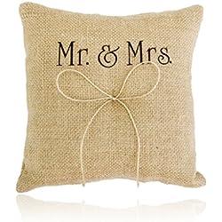 Almohada Anillo Arpillera Yute Mr & Mrs 20cm boda r´ústica