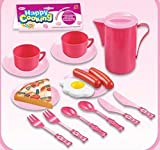 Kids Cooking Chef Kitchen Playset Toys | Cups | Plates | Knife Fork Spoon | Jug | Plastic Food | Tableware Appliances Pretend Play Set