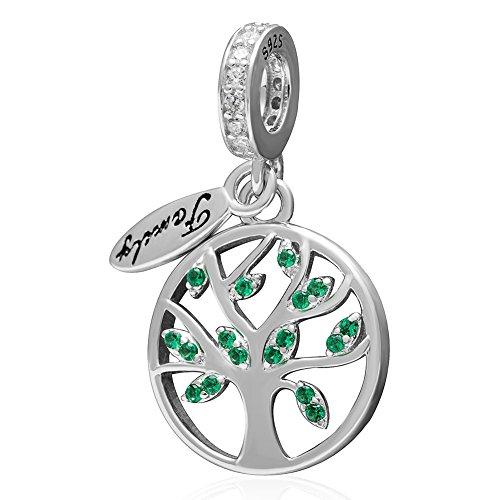 Love family ciondolo a forma di albero della vita in argento sterling 925, pendente con foglia verde zircone birthstone bead per braccialetti stile europeo