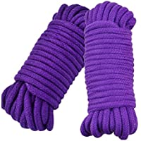 Cuerda de algodón suave multiusos, 10 m de largo, cuerda trenzada, Purple+Purple, 2 unidades