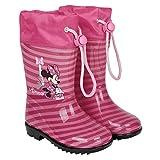 Perletti Disney Minnie Maus Regenstiefel für Kinder Mädchen - Minni Mouse Wasserdichte Regen Schnee Stiefel - Rutschfeste Sohle und Kordelzug - Rosa Pink (28/29 EU)