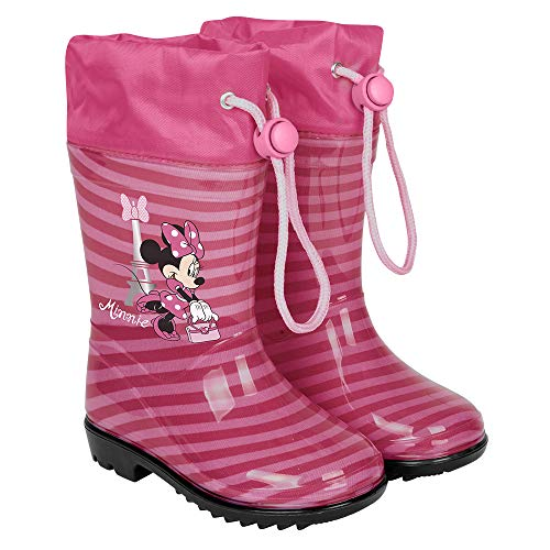 PERLETTI Minnie Rain Boots for Kids - Waterproof Disney Minni Wellies Shoes with Anti Slip Outsole - Colored Wellington for Girls with Minnie - Pink with Black Sole - 5 Size