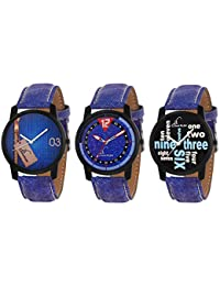 Jack Klein Combo Of Elegant 3 Different Blue Strap Analogue Wrist Watches