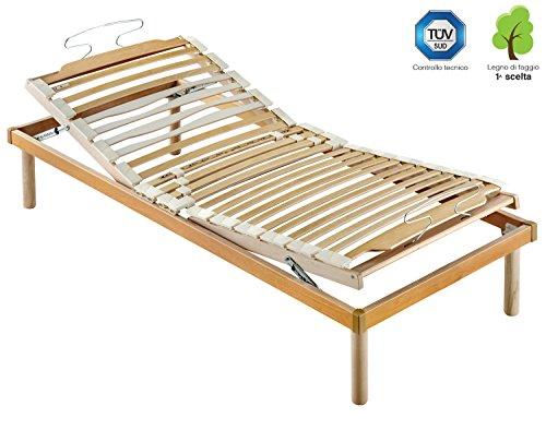 Marcapiuma - rete a doghe manuale singola 85x195 alta 35 cm modello s.a. in legno di faggio naturale resinato e multistrato + 4 piedi legno massello di faggio - ortopedica - 100% made in italy