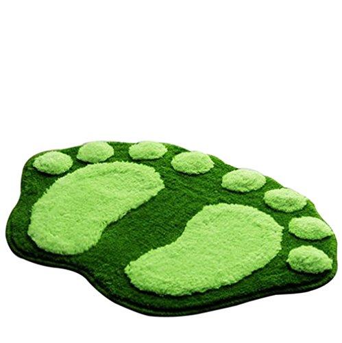 EOZY Grün Badvorleger Badteppich Duschvorleger Duschmatte Badematte Fußmatte aus Mikrofaser Fuß-Form Größe:58.5*38.5cm