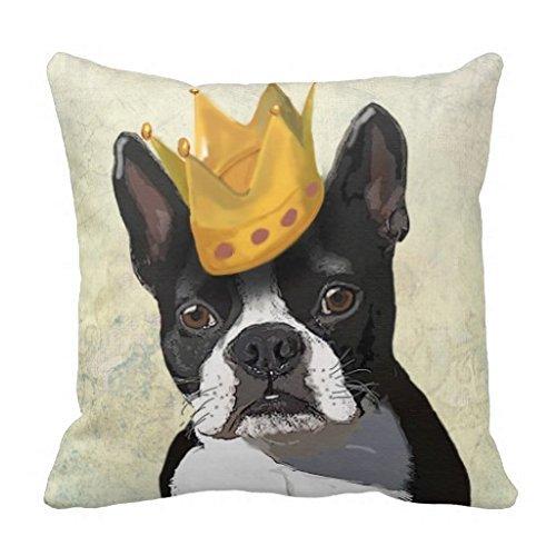 Boston Terrier und Krone Werfen Kissen Fall (Boston Terrier Kissen)