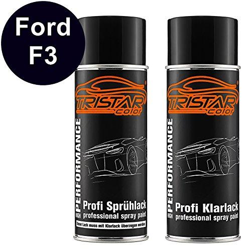 F3 Fusion (TRISTARcolor Autolack Spraydosen Set für Ford F3 Panther Black Perl Basislack Klarlack Sprühdose 400ml)
