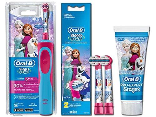 Braun Oral-B Stages Power Kids elektrische Zahnbürste - Kinder, Akku, Frozen Eiskönigin -