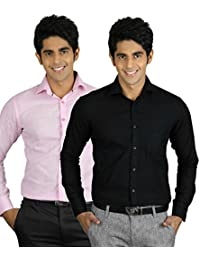 Zakod Combo Of Plain Black And Pink Casual Shirt 100% Cotton Shirt (Pack Of 2)