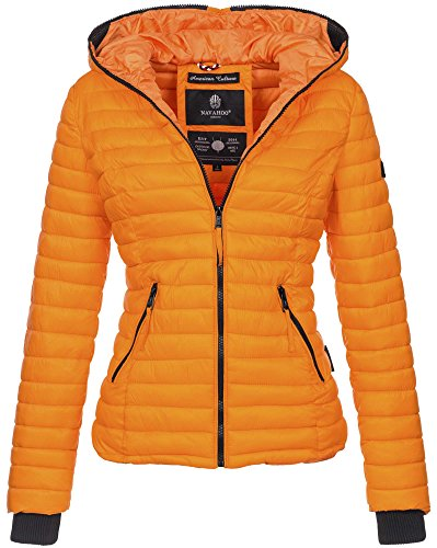 Navahoo Damen Übergangs Stepp Jacke mit Kapuze B348 Orange