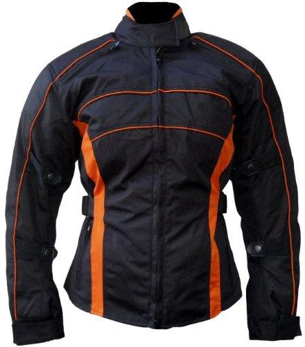 Heyberry Damen Motorrad Jacke Motorradjacke Schwarz Orange Gr.XXL - 2