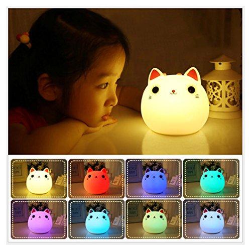 Baby Kinder Nachtlicht, Juleya Nette Weiche Silikon Katze Muticolour Lampe USB Rechargable Sensitive Tap Control Atmosphäre Lichter für Baby Kinderzimmer Cat