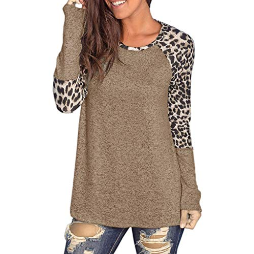 JYJM Frauen Leopard Druck Bluse Patchwork Langarm Bluse Tunika T-Shirt Langarm Tops Patchwork Bluse...