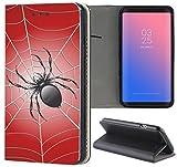Samsung Galaxy S5 / S5 Neo Hülle Premium Smart Einseitig Flipcover Hülle Samsung S5 Neo Flip Case Handyhülle Samsung S5 Motiv (737 Spinne Spider Schwarz Rot)
