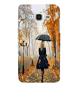 For Samsung Galaxy J2 (6) 2016 J210F :: Samsung Galaxy J2 Pro (2016) beautiful girl with umbrella, alone girl Designer Printed High Quality Smooth Matte Protective Mobile Case Back Pouch Cover by APEX