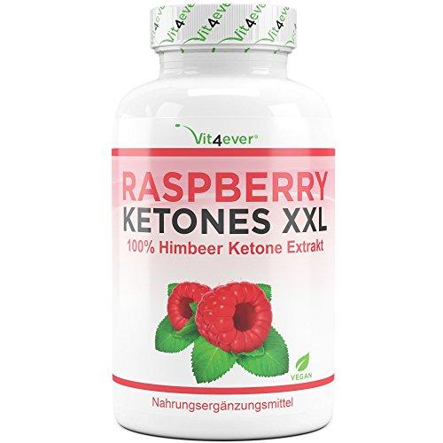 Raspberry Ketones XXL - 4000 mg pro Tagesdosierung - 250 Kapseln - 100% Himbeere Ketone Extrakt - 62 Tage Dauerversorgung - Vegan - Hochdosiert - Vit4ever