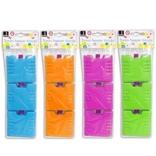 Set of 3 mini ice brick pack block blocks freezer cooler bag box travel picnic, colour sent at random