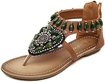 Sandalias mujer,Internet zapatos de bohemio de estilo étnico con cuentas playa