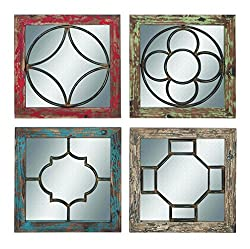 Benzara Mirror, Rustic Finish 4 Assorted Pieces