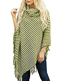 771a54c47f656 laamei Femme Élégant Poncho Crochet Tricote Echarpes Capes Pulls Ourlet  Frangé Châle Rayée Automne Hiver