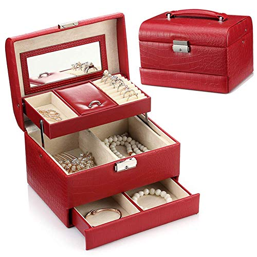 AYHa Leder Schmuck Box Organizer, Schmuck Box Schmuck Schrank Halskette Ring Armband Lagerung Inhaber Vintage Fall Geschenk 24.5Cm X17Cm X17Cm für Ringe Ohrringe Halskette,rot,Einheitsgröße