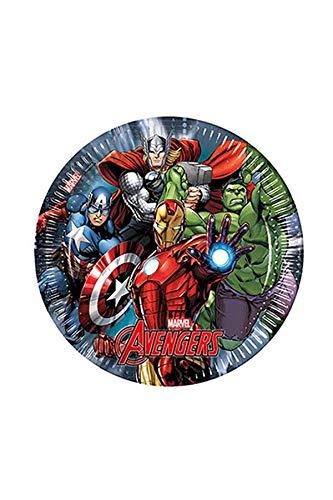 -Teller Papier Marvel Avengers Power, Ø23cm, 8Stück, Mehrfarbig ()