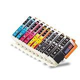 Lot de 5cartouches d'encre XL avec puce Compatibles avec imprimante Canon PGI-570 / CLI-571 – Convient pour Canon Pixma MG 5750, 5751, 5752, 5753, 6850, 6851, 6852, 6853, 7750, 7751, 7752, 7753 (C) 10 Stück alle Farben