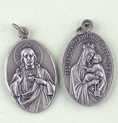 Heiliges Herz Jesu / Skapulier Medaille, Kettenanhänger aus Neusilber, mit Kautschukband