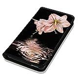 Hülle Galaxy S5 / S5 Neo Hülle Samsung S5 / S5 Neo Schutzhülle Handyhülle Flip Cover Case Samsung Galaxy S5 / S5 Neo (OM1033 Lilie Pink Rosa Blume)