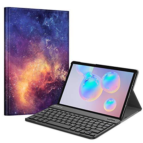 Fintie Tastatur Hülle für Samsung Galaxy Tab S6 10.5 2019 (Kompatibel mit S Pen kabelloser Ladefunktion) - Ultradünn Keyboard Case mit magnetisch Abnehmbarer drahtloser Deutscher Tastatur, Die Galaxie