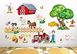nikima - 020 Wandtattoo Kinderzimmer Bauernhof niedliche Tiere Traktor Farm Kuh - in 6 Größen - niedliche Kinderzimmer Sticker Babyzimmer Aufkleber süße Wanddeko Wandbild Junge Mädchen (Größe: 1000 x 560 mm)