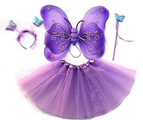 feenfluegel kinder Tante Tina - Schmetterling Kostüm für Mädchen - 4-Teiliges Set - Feenflügel / Schmetterlingsflügel Verkleiden - Lila mit Haarreif